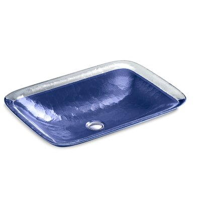 Inia  Glass Rectangular Vessel Bathroom Sink Finish: Opaque Sapphire
