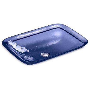Inia  Glass Rectangular Vessel Bathroom Sink Finish: Translucent Sapphire