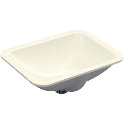 Caxton Rectangle Undermount Bathroom Sink with Overflow Finish: Almond