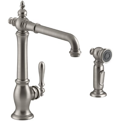 Artifacts� 2-Hole Kitchen Sink Faucet with 13-1/2 Swing Spout and Matching Finish Two-Function Sidespray with Sweep� and BerrySoft� Spray Finish: Vibrant Stainless