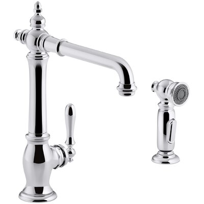 Artifacts� 2-Hole Kitchen Sink Faucet with 13-1/2 Swing Spout and Matching Finish Two-Function Sidespray with Sweep� and BerrySoft� Spray Finish: Polished Chrome