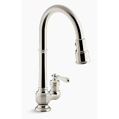 Artifacts Single-Hole Kitchen Sink Faucet  with 17-5/8 Pull-Down Spout, DockNetik� Magnetic Docking System, and 3-Function Sprayhead Featuring Sweep� and BerrySoft� Spray Finish: Vibrant Polished Nickel