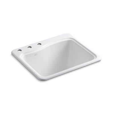 River Falls Metal Rectangular Drop-In Bathroom Sink Finish: White, Number of Faucet Holes: 3