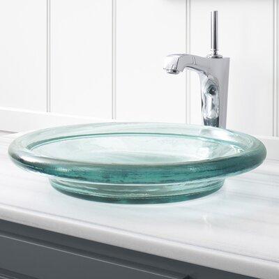Spun Glass Temp Glass Circular Vessel Bathroom Sink Finish: Translucent Dew