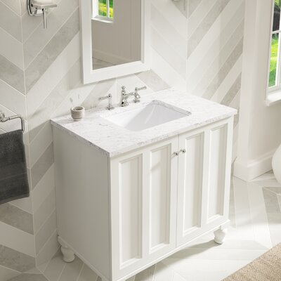 Caxton Rectangle Undermount Bathroom Sink with Overflow Finish: White