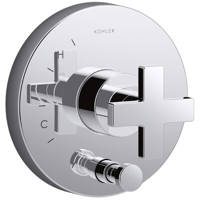 Composed Diverter Faucet Trim Cross Handle Finish: Polished Chrome