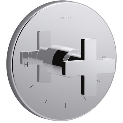 Composed� Thermostatic Faucet Trim with Cross Handle Finish: Polished Chrome