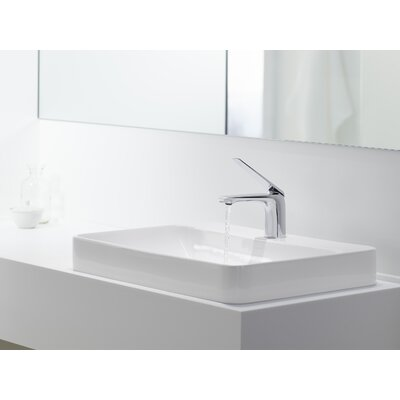 Vox Rectangular Vessel Bathroom Sink with Overflow Finish: White, Faucet Hole Style: 8 Widespread