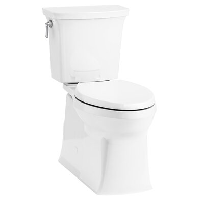 Corbelle Comfort Height� Two-Piece Elongated 1.28 GPF Toilet with Skirted Trapway and Revolution 360� Swirl Flushing Technology and Left-Hand Trip Lever
