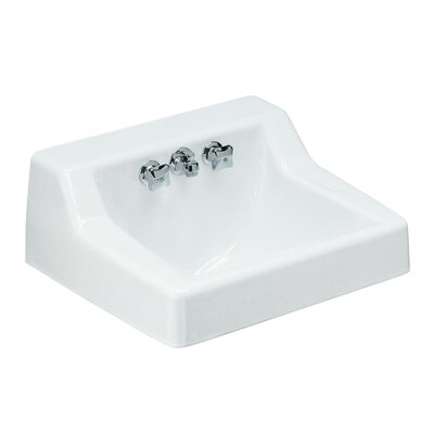 Hampton Ceramic 22 Wall Mount Bathroom Sink with Overflow