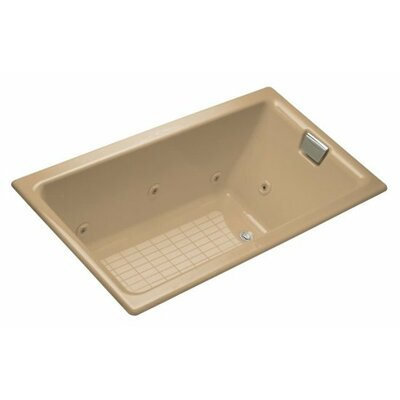 Tea-For-Two Drop-In Whirlpool Bath with Reversible Drain, Custom Pump and Heater without Trim Finish: Mexican Sand, Remote Control: Yes
