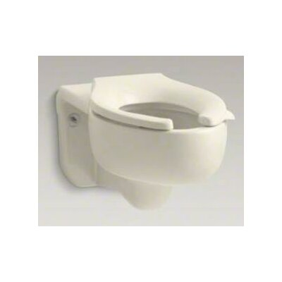 Stratton Wall-Mounted 3.5 GPF Water-Guard Flushometer Valve Elongated Blow-Out Toilet Bowl with Top Inlet, Requires Seat Finish: Almond