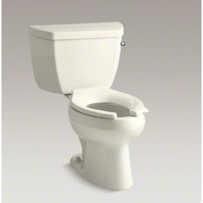 Wellworth Classic Two-Piece Elongated 1.0 GPF Toilet Pressure Lite Flushing Technology with Tank Cover Locks and Right-Hand Trip Lever, Less Seat Finish: Biscuit