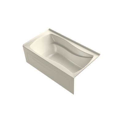 Mariposa Alcove Bubblemassage 66 x 36 Soaking Bathtub Finish: Almond, Drain Location: Right