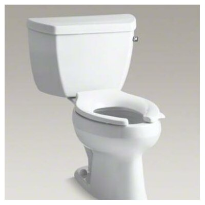 Wellworth Classic Two-Piece Elongated 1.0 GPF Toilet Pressure Lite Flushing Technology with Tank Cover Locks and Right-Hand Trip Lever, Less Seat Finish: White