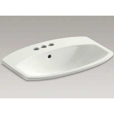Cimarron Ceramic Rectangular Drop-In Bathroom Sink with Overflow Finish: Dune, Faucet Hole Style: 4 Centerset
