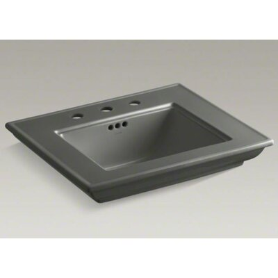 Memoirs� Ceramic 25 Pedestal Bathroom Sink with Overflow Finish: Thunder Grey, Faucet Hole Style: 4Centerset