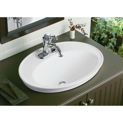 Serif Ceramic Oval Drop-In Bathroom Sink with Overflow Finish: White, Faucet Hole Style: 8 Widespread