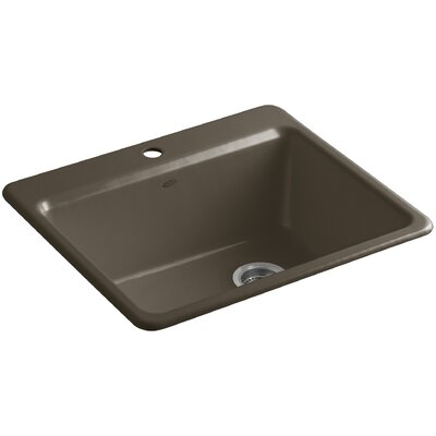 Riverby 25 x 22 x 9-5/8 Top-Mount Single-Bowl Kitchen Sink with Basin Rack Finish: Suede