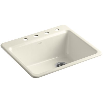 Riverby 25 x 22 x 9-5/8 Top-Mount Single-Bowl Kitchen Sink with Bottom Basin Rack Finish: Almond