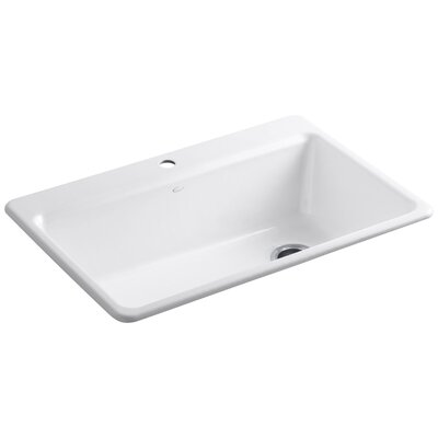 Riverby 33 x 22 x 9-5/8 Top-Mount Single-Bowl Kitchen Sink with Accessories Finish: White