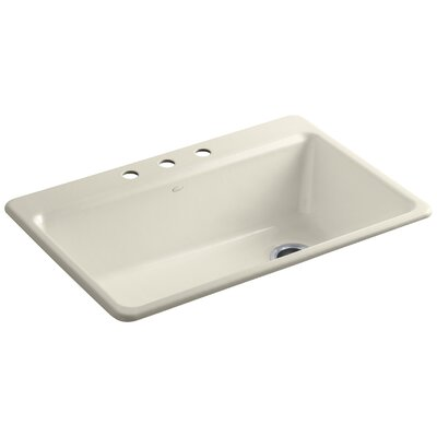 Riverby 33 x 22 x 9-5/8 Top-Mount Single-Bowl Kitchen Sink with Accessories Finish: Almond