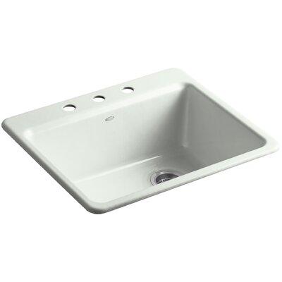 Riverby 25 x 22 x 9-5/8 Top-Mount Single-Bowl Kitchen Sink with Basin Rack Finish: Sea Salt