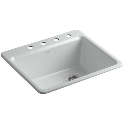 Riverby 25 x 22 x 9-5/8 Bar Kitchen Sink with Basin Rack Finish: Ice Grey