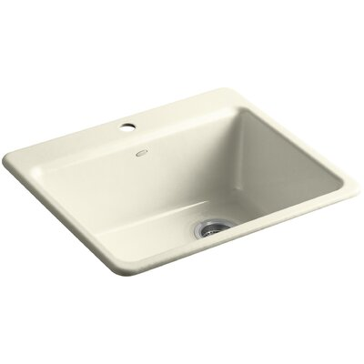 Riverby 25 x 22 x 9-5/8 Top-Mount Single-Bowl Kitchen Sink with Basin Rack Finish: Cane Sugar