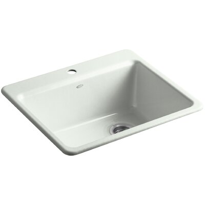 Riverby 25 x 22 x 9-5/8 Top-Mount Single-Bowl Kitchen Sink with Basin Rack Finish: Sea Salt