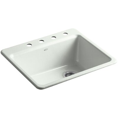 Riverby 25 x 22 x 9-5/8 Top-Mount Single-Bowl Kitchen Sink with Bottom Basin Rack Finish: Sea Salt