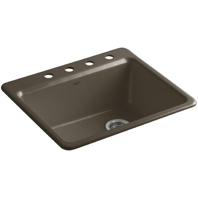 Riverby 25 x 22 x 9-5/8 Bar Kitchen Sink with Basin Rack Finish: Suede