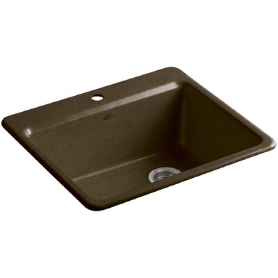 Riverby 25 x 22 x 9-5 8 Bar Kitchen Sink with Basin Rack Finish: Black n Tan