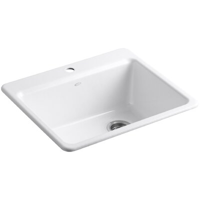 Riverby 25 x 22 x 9-5 8 Bar Kitchen Sink with Basin Rack Finish: White