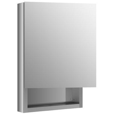 Verdera 20 W x 30 H Aluminum Medicine Cabinet with Adjustable Magnifying Mirror, Slow-Close Door, Open Shelf and Left-Hand Hinge