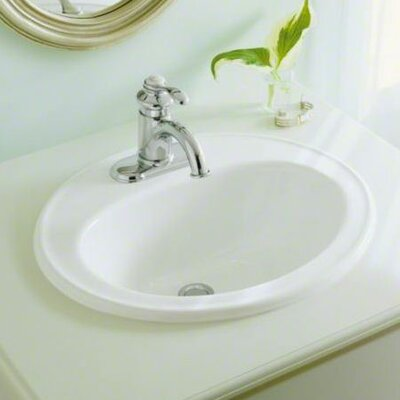 Pennington Ceramic Oval Drop-In Bathroom Sink with Overflow Finish: White, Faucet Hole Style: 8 Widespread