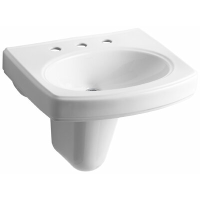 Pinoir Ceramic 22 Wall Mount Bathroom Sink with Overflow Finish: White