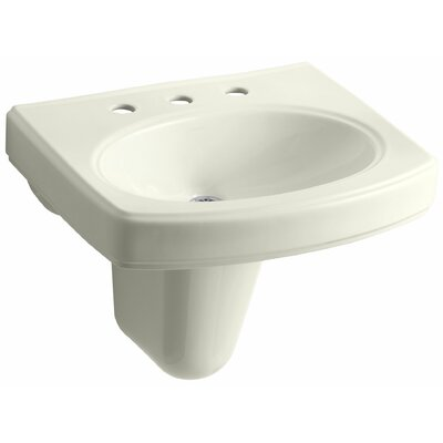 Pinoir Ceramic 22 Wall Mount Bathroom Sink with Overflow Finish: Biscuit