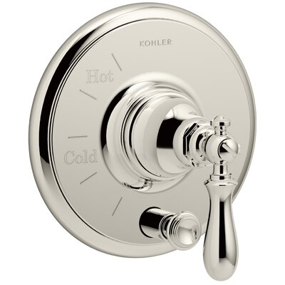 Artifacts Rite-Temp Pressure-Balancing Valve Trim with Push-Button Diverter and Swing Lever Handle Finish: Vibrant Polished Nickel