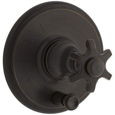 Artifacts Rite-Temp Pressure-Balancing Valve Trim with Push-Button Diverter and Prong Handle Finish: Oil Rubbed Bronze