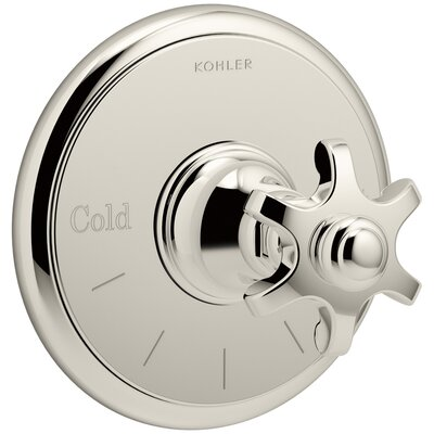 Artifacts Thermostatic Valve Trim with Prong Handle Finish: Vibrant Polished Nickel