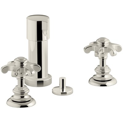 Artifacts Widespread Bidet Faucet with Prong Handles Finish: Vibrant Polished Nickel