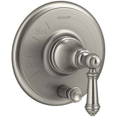 Artifacts Rite-Temp Pressure-Balancing Valve Trim with Push-Button Diverter and Lever Handle Finish: Vibrant Brushed Nickel