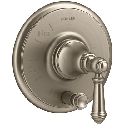 Artifacts Rite-Temp Pressure-Balancing Valve Trim with Push-Button Diverter and Lever Handle Finish: Vibrant Brushed Bronze