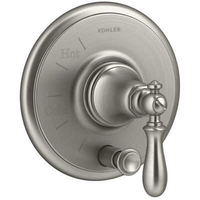 Artifacts Rite-Temp Pressure-Balancing Valve Trim with Push-Button Diverter and Swing Lever Handle Finish: Vibrant Brushed Nickel