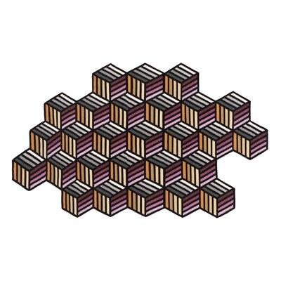 Parquet Handmade Kilim Wool Orange/Black/Pink Area Rug Rug Size: Hexagon 62 x 10