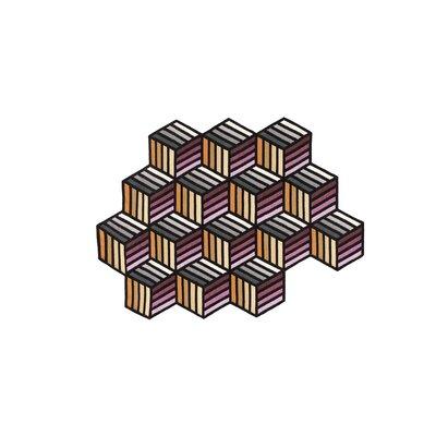 Parquet Handmade Kilim Wool Orange/Black/Pink Area Rug Rug Size: Hexagon 5 x 68