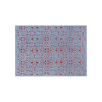 Damasco Hand Knotted Wool Blue Area Rug Rug Size: Rectangle 57 x 711