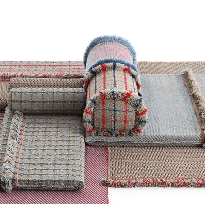 Garden Layers Diagonal Outdoor Euro Pillow Color: Almond/Red