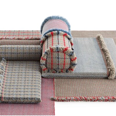 Garden Layers Tartan Outdoor Euro Pillow Color: Terracotta